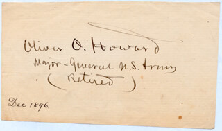 MAJOR GENERAL OLIVER O. HOWARD - AUTOGRAPH 12/1896