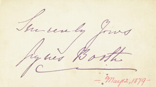 AGNES BOOTH - AUTOGRAPH SENTIMENT SIGNED CIRCA 1879