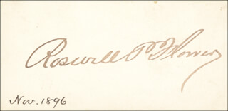 MAYOR ROSWELL P. FLOWER - CALLING CARD SIGNED CIRCA 1896