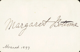 Autographs: MARGARET BOTTOME - SIGNATURE(S) CIRCA 1897