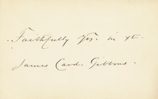 JAMES CARDINAL GIBBONS - AUTOGRAPH SENTIMENT SIGNED