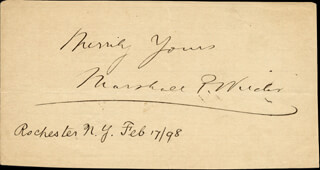 MARSHALL P. WILDER - AUTOGRAPH SENTIMENT SIGNED 02/17/1898