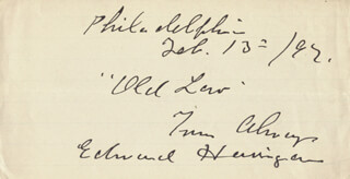 EDWARD HARRIGAN - AUTOGRAPH SENTIMENT SIGNED 02/13/1892