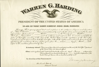 PRESIDENT WARREN G. HARDING - CIVIL APPOINTMENT SIGNED 03/15/1922 CO-SIGNED BY: HUBERT WORK