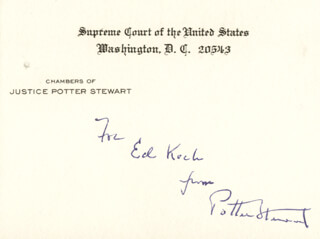 ASSOCIATE JUSTICE POTTER STEWART - INSCRIBED SUPREME COURT CARD SIGNED