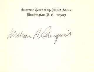 Autographs: CHIEF JUSTICE WILLIAM H. REHNQUIST - SUPREME COURT CARD SIGNED