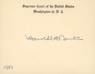 Autographs: ASSOCIATE JUSTICE HAROLD H. BURTON - SUPREME COURT CARD SIGNED 1953