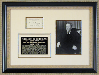 Autographs: ASSOCIATE JUSTICE WILLIAM O. DOUGLAS - SUPREME COURT CARD SIGNED 02/10/1949