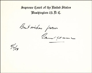 Autographs: ASSOCIATE JUSTICE TOM C. CLARK - AUTOGRAPH SENTIMENT ON SUPREME COURT CARD SIGNED 04/02/1959