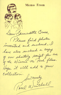 PAUL WINCHELL - AUTOGRAPH LETTER SIGNED