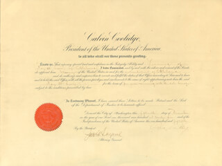 Autographs: PRESIDENT CALVIN COOLIDGE - CIVIL APPOINTMENT SIGNED 12/15/1925 CO-SIGNED BY: JOHN G. SARGENT