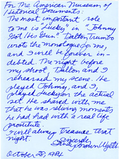 SANDY BROWN WYETH - AUTOGRAPH LETTER SIGNED 10/28/1984