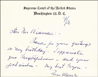 Autographs: ASSOCIATE JUSTICE TOM C. CLARK - AUTOGRAPH LETTER ON SUPREME COURT CARD SIGNED 09/30/1961