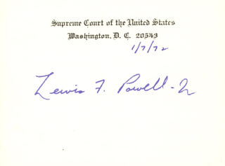 Autographs: ASSOCIATE JUSTICE LEWIS F. POWELL JR. - SUPREME COURT CARD SIGNED 01/07/1972