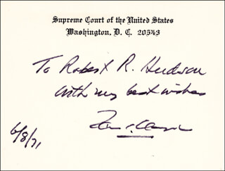 Autographs: ASSOCIATE JUSTICE TOM C. CLARK - AUTOGRAPH NOTE ON SUPREME COURT CARD SIGNED 06/08/1971