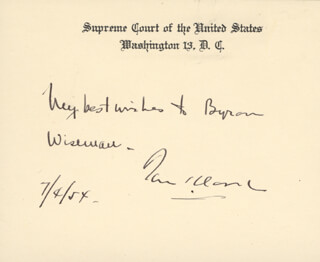 Autographs: ASSOCIATE JUSTICE TOM C. CLARK - AUTOGRAPH NOTE ON SUPREME COURT CARD SIGNED 07/04/1954