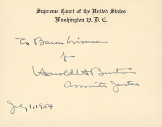 Autographs: ASSOCIATE JUSTICE HAROLD H. BURTON - AUTOGRAPH NOTE ON SUPREME COURT CARD SIGNED 07/01/1954