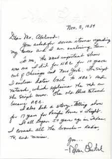 NELSON OLMSTED - AUTOGRAPH LETTER SIGNED 11/03/1984