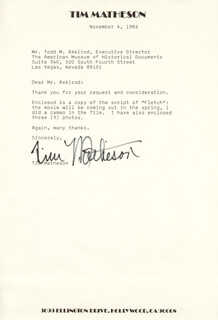 TIM MATHESON - TYPED LETTER SIGNED 11/04/1984