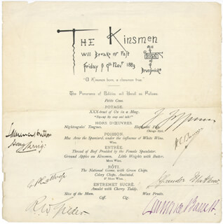 GEORGE PARSONS LATHROP - MENU SIGNED CIRCA 1883 CO-SIGNED BY: SIR HENRY IRVING, RICHARD WATSON GILDER, HENRY C. BUNNER, LAURENCE HUTTON, JOSEPH JEFFERSON, LAWRENCE BARRETT, BRANDER MATTHEWS
