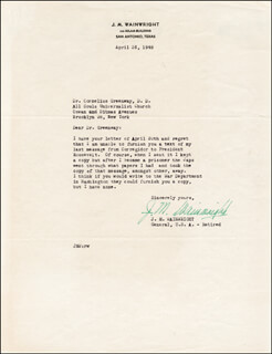 GENERAL JONATHAN M. WAINWRIGHT IV - TYPED LETTER SIGNED 04/26/1948