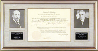 Autographs: PRESIDENT WARREN G. HARDING - DOCUMENT SIGNED 07/17/1922 CO-SIGNED BY: CHIEF JUSTICE CHARLES E HUGHES