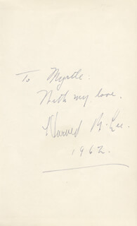 HOWARD B. LEE - AUTOGRAPH NOTE SIGNED 1962