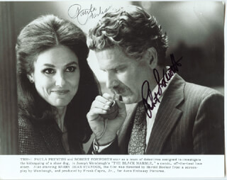 BLACK MARBLE MOVIE CAST - PRINTED PHOTOGRAPH SIGNED IN INK CO-SIGNED BY: ROBERT FOXWORTH, PAULA PRENTISS - HFSID 40571