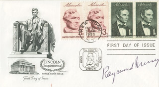 RAYMOND MASSEY - FIRST DAY COVER SIGNED