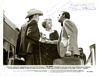 THE SWARM MOVIE CAST - PRINTED PHOTOGRAPH SIGNED IN INK CO-SIGNED BY: FRED MacMURRAY, OLIVIA DE HAVILLAND