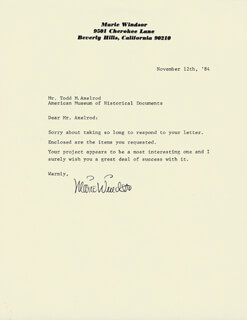 MARIE WINDSOR - TYPED LETTER SIGNED 11/12/1984