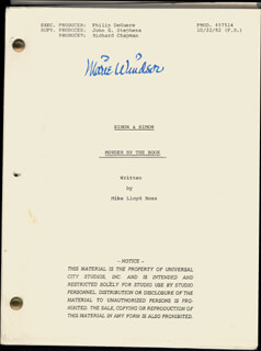 Autographs: MARIE WINDSOR - SCRIPT SIGNED CIRCA 1984