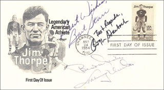 Autographs: BART STARR - FIRST DAY COVER WITH AUTOGRAPH SENTIMENT SIGNED CO-SIGNED BY: JOHNNY UNITAS, ROGER STAUBACH