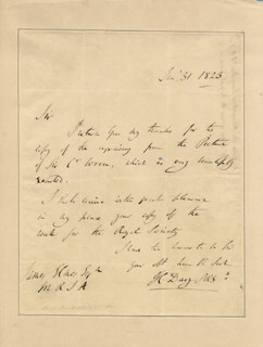 SIR HUMPHRY DAVY - AUTOGRAPH LETTER SIGNED 01/31/1823