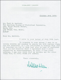 GARARD GREEN - TYPED LETTER SIGNED 10/26/1984