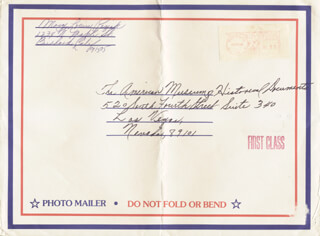 MARY LOUISE MILLER - AUTOGRAPH ENVELOPE SIGNED 11/23/1984