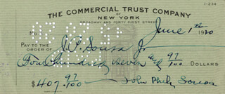 JOHN PHILIP THE MARCH KING SOUSA - AUTOGRAPHED SIGNED CHECK 06/01/1920 CO-SIGNED BY: JOHN P. SOUSA JR.