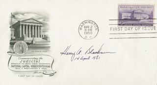 ASSOCIATE JUSTICE HARRY A. BLACKMUN - FIRST DAY COVER SIGNED