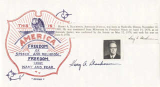 Autographs: ASSOCIATE JUSTICE HARRY A. BLACKMUN - COMMEMORATIVE ENVELOPE SIGNED