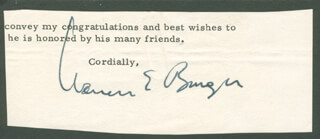 Autographs: CHIEF JUSTICE WARREN E. BURGER - TYPED LETTER FRAGMENT SIGNED