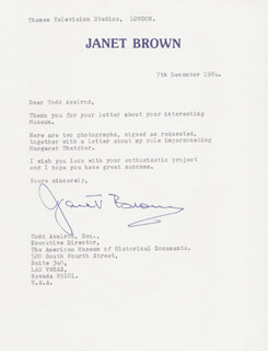 JANET BROWN - TYPED LETTER SIGNED 12/07/1984