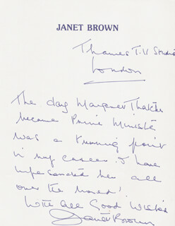 JANET BROWN - AUTOGRAPH LETTER SIGNED