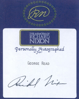 PRESIDENT RICHARD M. NIXON - BOOK PLATE SIGNED