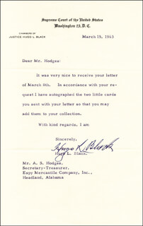 ASSOCIATE JUSTICE HUGO L. BLACK - TYPED LETTER SIGNED 03/15/1963