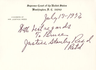 Autographs: ASSOCIATE JUSTICE STANLEY F. REED - AUTOGRAPH NOTE ON SUPREME COURT CARD SIGNED 07/13/1976