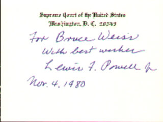 Autographs: ASSOCIATE JUSTICE LEWIS F. POWELL JR. - INSCRIBED SUPREME COURT CARD SIGNED 11/04/1980