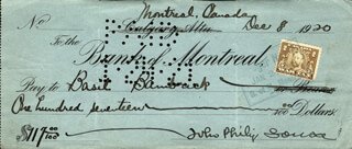 JOHN PHILIP THE MARCH KING SOUSA - AUTOGRAPHED SIGNED CHECK 12/08/1920