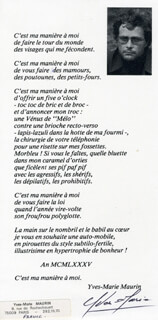 YVES-MARIE MAURIN - POEM SIGNED CIRCA 1985