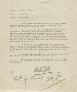 THOMAS A. EDISON - MEMORANDUM SIGNED 05/08/1923 CO-SIGNED BY: BRUNO WOLNITZKY