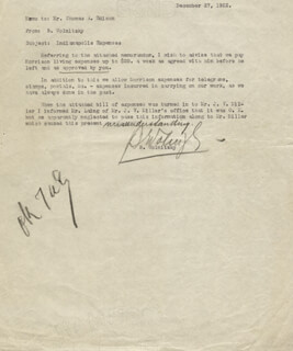 THOMAS A. EDISON - MEMORANDUM SIGNED 12/27/1922 CO-SIGNED BY: BRUNO WOLNITZKY